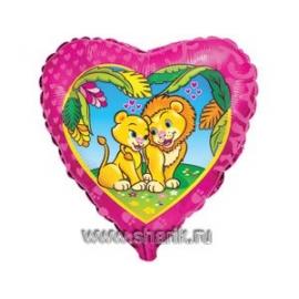 Шар с гелием Влюбленные львы